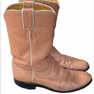 JUSTIN Pink / peach leather boots